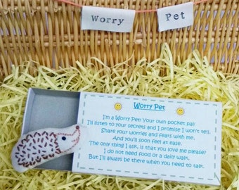 Hedgehog Worry Pet, Hand Embroidered in box with poem