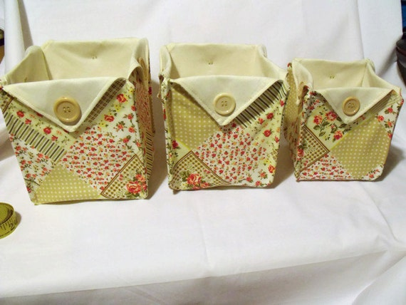 3 fabric tubs, folded boxes, storage tubs, origami buckets, cotton baskets, beige, pink, yellow