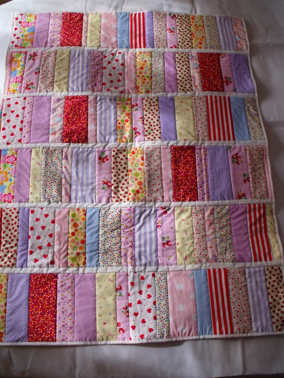 """patchwork quilt, quilted throw, multi coloured duvet, swaddle blanket, baby play mat, double sided, aprox 35.5"""" x 47"""""""