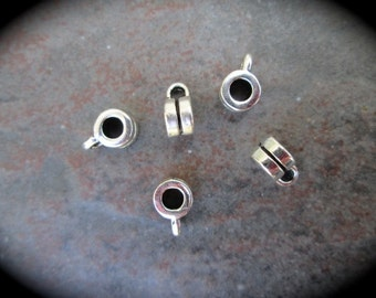 Silver Finish Charm Bails Pendant Holders Package of 5 Large Hole Charm Holders