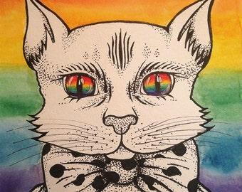 LGBT cat postcard
