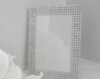 Wedding picture frame, 5x7 silver wedding picture frame,Wedding decor, Bling picture frame, Wedding decorations, Table number frame