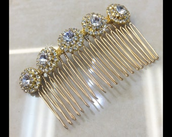 Gold Rhinestone Hair Comb, Bridal Hair Accessories Style#11
