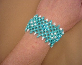 turquoise-white-pearl wide beadwork bracelet, beaded bracelet, turquoise bracelet