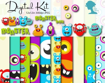 Monsters Digital Scrapbooking Value Kit, Buy 2 Get 1 FREE. Instant Download