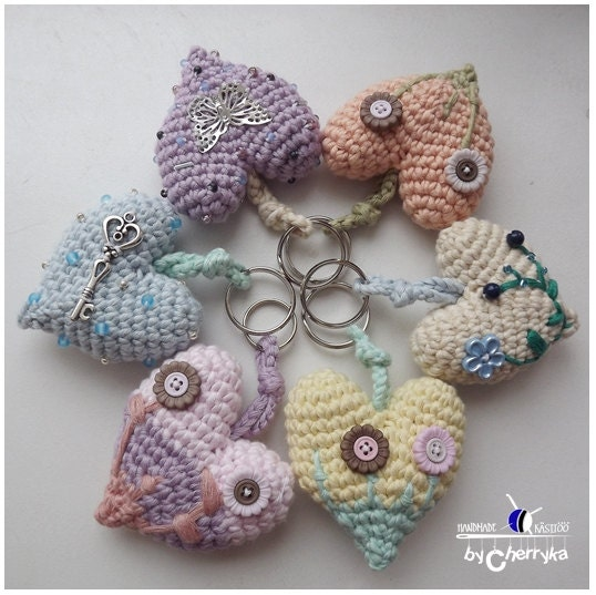 Crochet Purse Keychain Pattern : Crochet heart CROCHET PATTERN Valentine crocheted