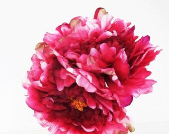 8 Dark Pink Silk Peonies Big Artificial Flowers Peony Pink Yellow Flower DIY Wedding Crafts Decoration Decor Spring Summer Simulation Flower