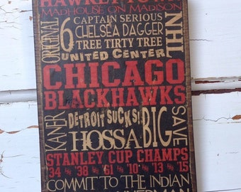 """Chicago Blackhawks Hockey Wood Sign, Husband Gift For Him, NHL Gift For Dad, Hawkey-Town Sign, Hockey Words on Wood, NHL Team Sign, 5""""x8"""""""