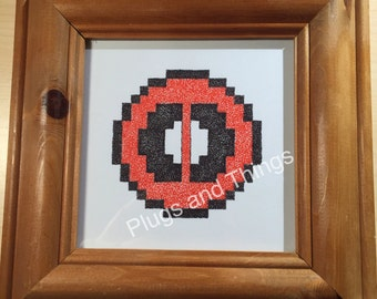 8-bit dot work Deadpool logo in colour *hand drawn, unique, made to order*