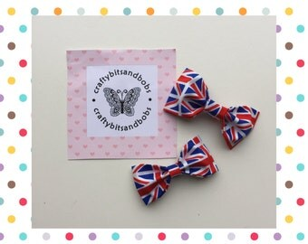 Union Jack hairbows, Great Britain hair bows, flag hairbows, girlie hair accessories, party favours, british, queens birthday, street party