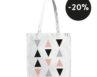White cotton tote bag with triangles (pink, grey and black)