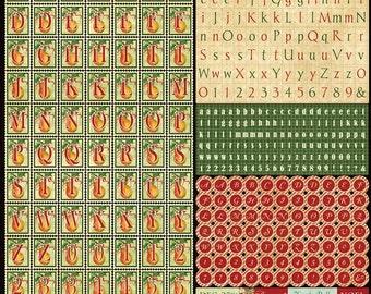 Graphic 45 12 Days of Christmas - Alpha Cardstock Sticker Sheet, Flowers Sticker Set, Pockets Sticker Set, and Chipboard #2