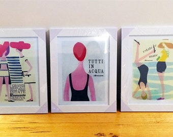 3 x La Rinascente Vintage Beach Framed Italian Poster Print Watercolour Scandinavian Art