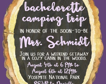 DIGITAL Rustic Wood Slice Camping Bachelorette Invitation