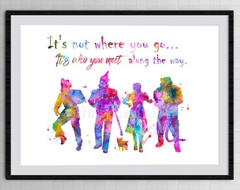 Wizard of OZ Watercolor Art Print - Wizard of OZ Poster #1  Home Decor Children's Wall Art Wall Hanging Birthday Gift Halloween Gift