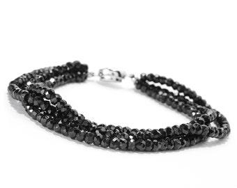 Sterling Silver 3.3MM Black Spinel Three Row Bead Bracelet