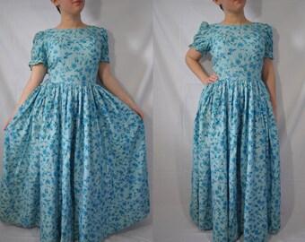 Vintage Evening Dress 60s Formal Dress Mid Century Day Dress Blue Floral Dress 60s Long Dress 60s Tea Dress 60s Maxi Dress 60s Prom Dress