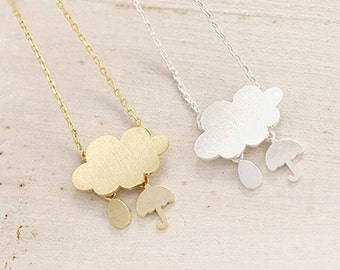 Rain Cloud Necklace with Drop and Umbrella Charm