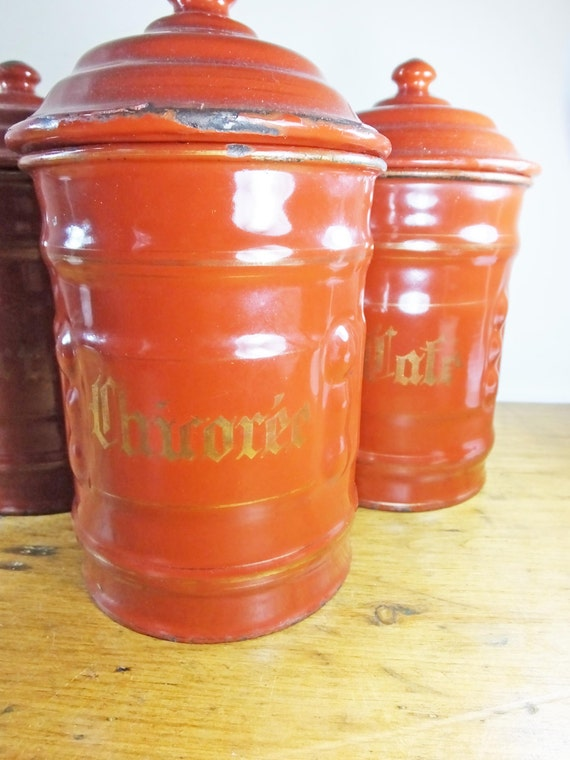 vintage french enamel kitchen canisters by luckymagpievintage