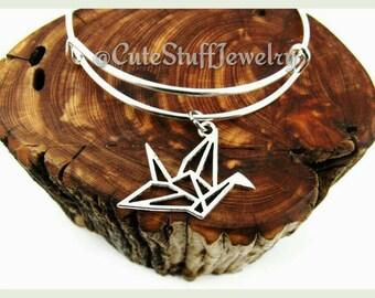 Origami Crane Bracelet, Origami Crane Bangle, Handmade Origami Jewelry, Origami Bangle, Silver Crane Jewelry, Bird Origami Bracelet