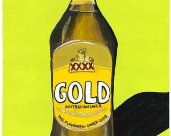 Gold Stubby A3 Print