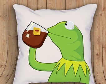 None of my Business Pillow, Home Decor, Funny, Original Art 18x18
