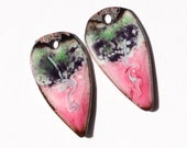 Parfait Petals - copper enamel earring components with bright pink, grape and pistachio green and light blue wiggle.