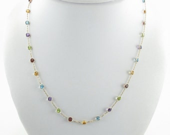 """14K Yellow Gold Multi Color Gemstones Station Necklace By The Yard 16"""""""