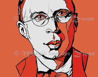 Prokofiev Portrait Print Limited Edition, Handmade Contemporary Art, Russian Composer, Peter and the Wolf, Cinderella, Romeo and Juliet