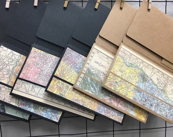 Patricia's Trifold Pocket w/ Map Theme Magnetic closure for use with Large Moleskine Cahiers Notebook Covers