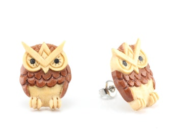 "Hand Carved - ""Robo Owl"" - Gentawas Wood with Sabo and Ebony Wood Inlay Stud Earring - Wisdom of Owls"