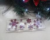 Flurry of Copper Snowflakes Fused Glass Triple Tealight Holder/Sushi Dish