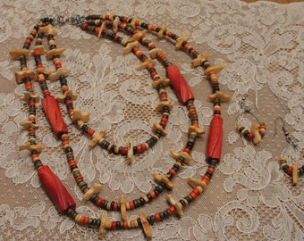 Multi Colored Wooden Necklace Set