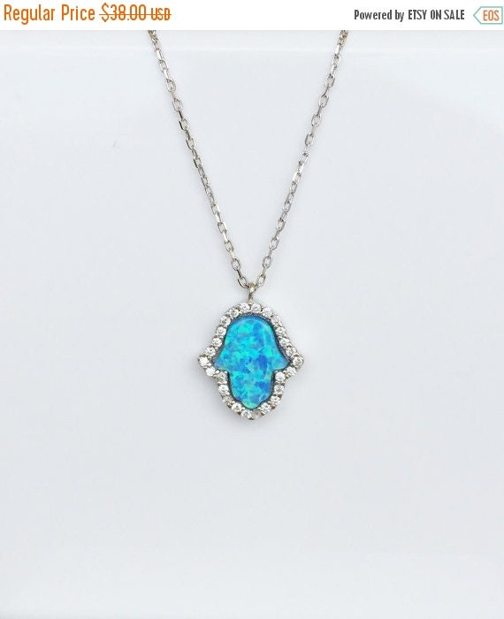 Opal hamsa cz necklace in solid sterling silver and cubic zirconia with sky blue or white opal for good luck