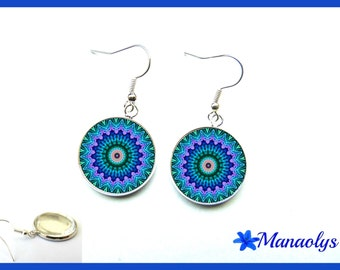 Blue mandala, glass cabochons earrings