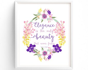 Audrey Hepburn, Elegance Is The Only Beauty That Never Fades, Prints, Quote Prints, Printable, Art Prints, Printable Art, Instant Download