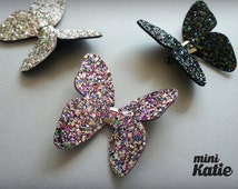mini Katie Super Glitter Butterfly Hair Barrette, Hair Clip for baby girls Toddlers