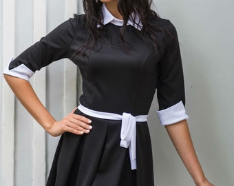 Black and white party dress Peter Pan collar Contrast Jersey Everyday dress Spring dress Women's dress with belt