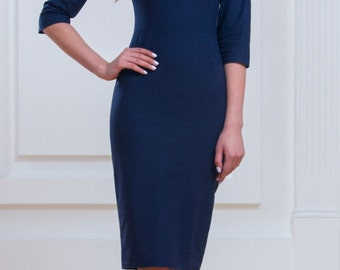 Dark blue Classic dress Everyday Office Business woman clothes Simple Pencil Dress