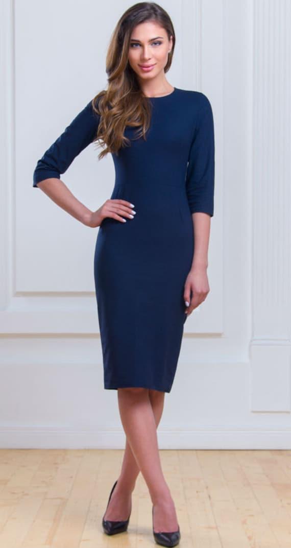 Dark Blue Classic Dress Everyday Office Dress Business Woman