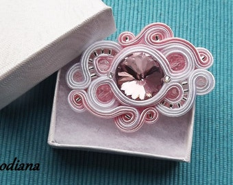 White & Powder Pink  soutache  brooch