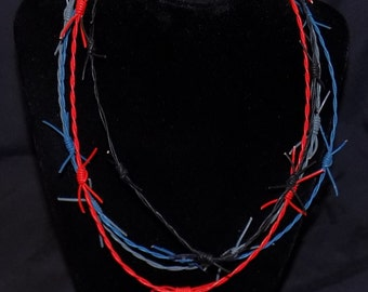 Handmade Leather Barbed Wire necklace 1mm with hand tied knots by RainbowMaille