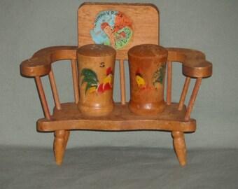 Vintage Wood Chair with Rooster Chicken Salt & Pepper Shaker Set | Wooden Chicken Bench Set Chimney Rock NC Souvenir | Cabin farmhouse Decor