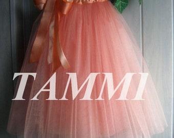 peach tulle skirt, apricot skirt, tulle skirt, underdress skirt