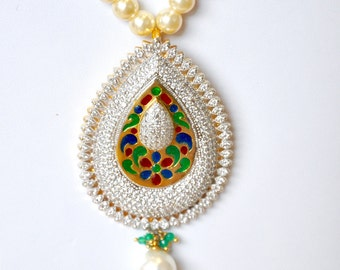 Gold plated pearl necklace with american diamond pendant with beautiful meenakari work pendant | Indian Jewelry | Indian pearl necklace