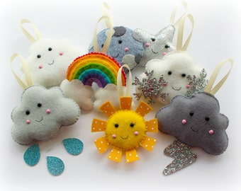 Make Your Own felt Weather Garland Kit. Sewing pattern. DIY Craft. Sew Your Own. Craft kit.