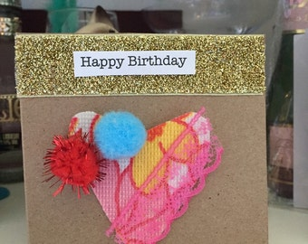 Handmade birthday card using vintage materials.