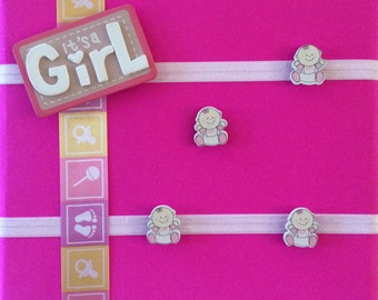 Baby Girl Fabric Covered Magnetic 12x16 Nursery Board /Memo/Baby Shower Board