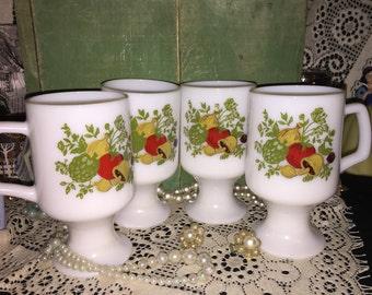 Milk Glasses; Set of 9 Tall Irish Style Milk Glass Coffee Cups; Milk Glass Coffee Cups Adorned with Vegatibles; Collectible Milk Glass