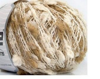 Pom Pom Knitting Yarn Beige Off White Crochet
